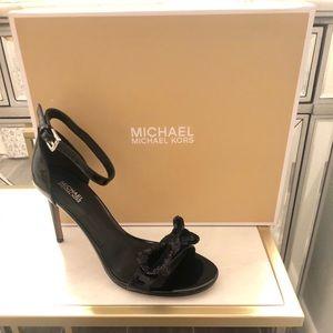 Michael Kors Paris Sandal Heels Black Sequin Bow